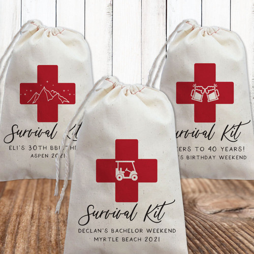 Classic Cross Personalized Hangover Survival Kit Bags for Golf Bachelor Party or Mens Birthday