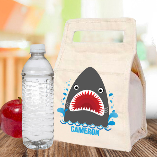 Personalized Shark Bait Canvas Lunch Bag for Kids - Children's School Lunch Tote with Name