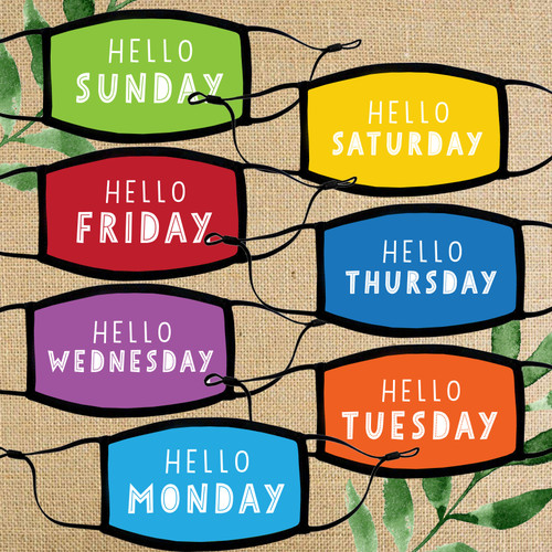 Hello Days of the Week Kids Mask Set - Days of the Week Masks for School