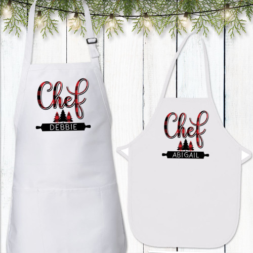 Personalized Pretty Plaid Chef Aprons - Custom Apron Set for Mommy + Daughter or Daddy + Son - Monogrammed Family Apron Sets