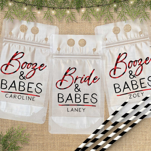 Bride + Babes and Booze + Babes Custom Plaid Bachelorette Drink Pouches with Names