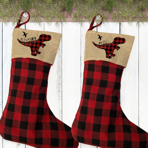 Personalized Plaid Christmas Stocking - Kids Dinosaur Stockings - Custom Stockings for Toddler Boys