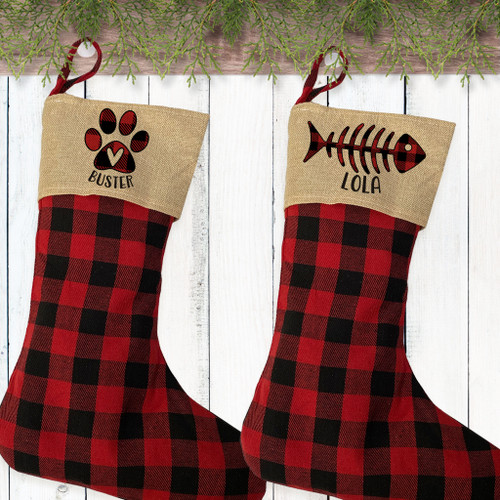 Personalized Plaid Christmas Stockings for Family Pets - Custom Stockings for Cats - Monogrammed Stockings for Dogs