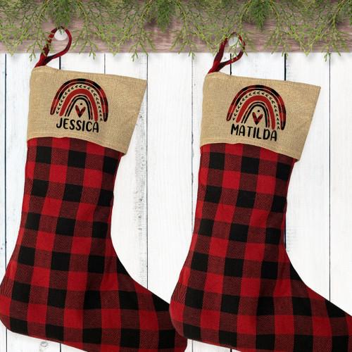Personalized Plaid Rainbow Childrens Christmas Stocking - Kids Rainbow Stockings - Custom Stockings for Toddler Girls