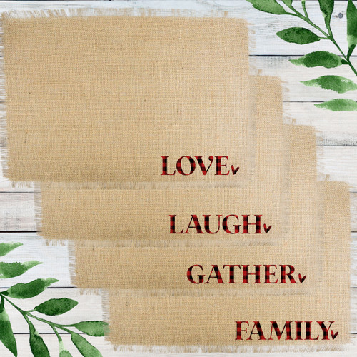 Personalized Plaid Holiday Gatherings Jute Placemats - Custom Burlap Placemats - Christmas Table Decor