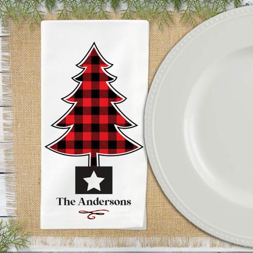 Custom Christmas Napkin Sets - Holiday Home Decor - Plaid Personalized Cloth Napkins