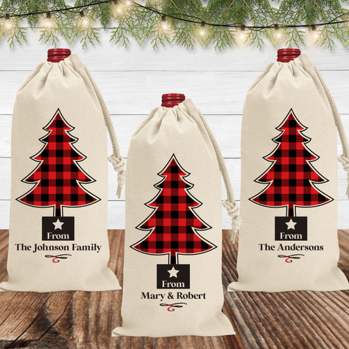 Custom Christmas Wine Bags - Red Plaid Holiday Wine Bags - Personalized Canvas Wine Gift Bags