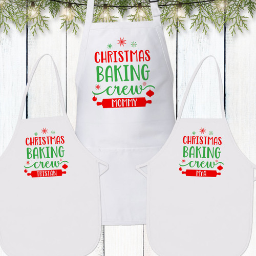 Christmas Baking Crew Custom Matching Family Aprons for Toddlers, Kids, Women and Men