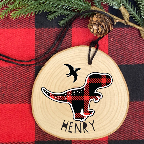 Plaid Dinosaur Personalized Wood Christmas Ornament - Rustic Holiday Ornaments for Children