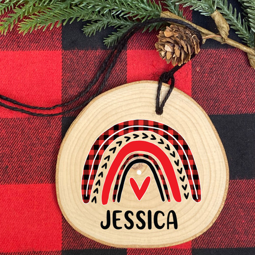 Plaid Rainbow Personalized Wood Christmas Ornament - Rustic Holiday Ornaments for Girls & Women