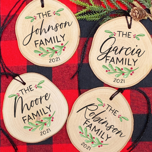 Holly Personalized Wood Christmas Ornament for 2021 - Rustic Wooden Holiday Ornaments with Family Names