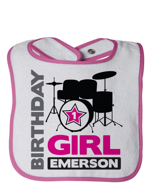 Personalized First Birthday Bib Drum Superstar Pink