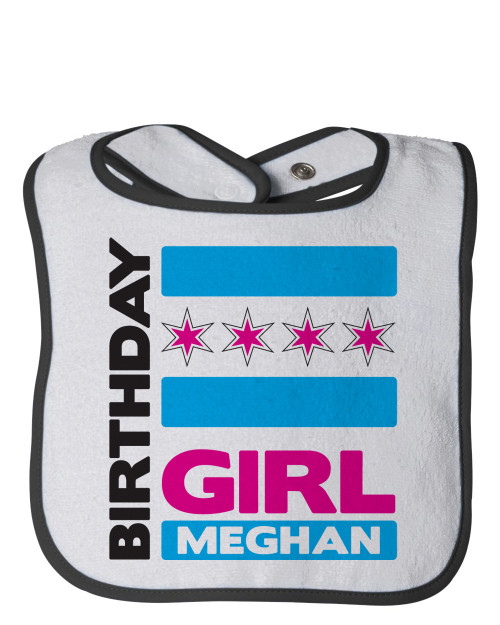 Personalized First Birthday Bib Chicago Girl