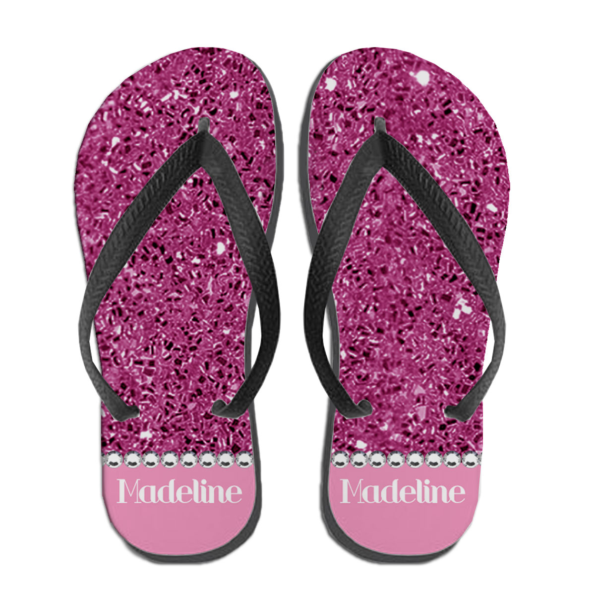 2f34a0811aa0a3 Personalized Blinged Out Babe Flip Flops Pink