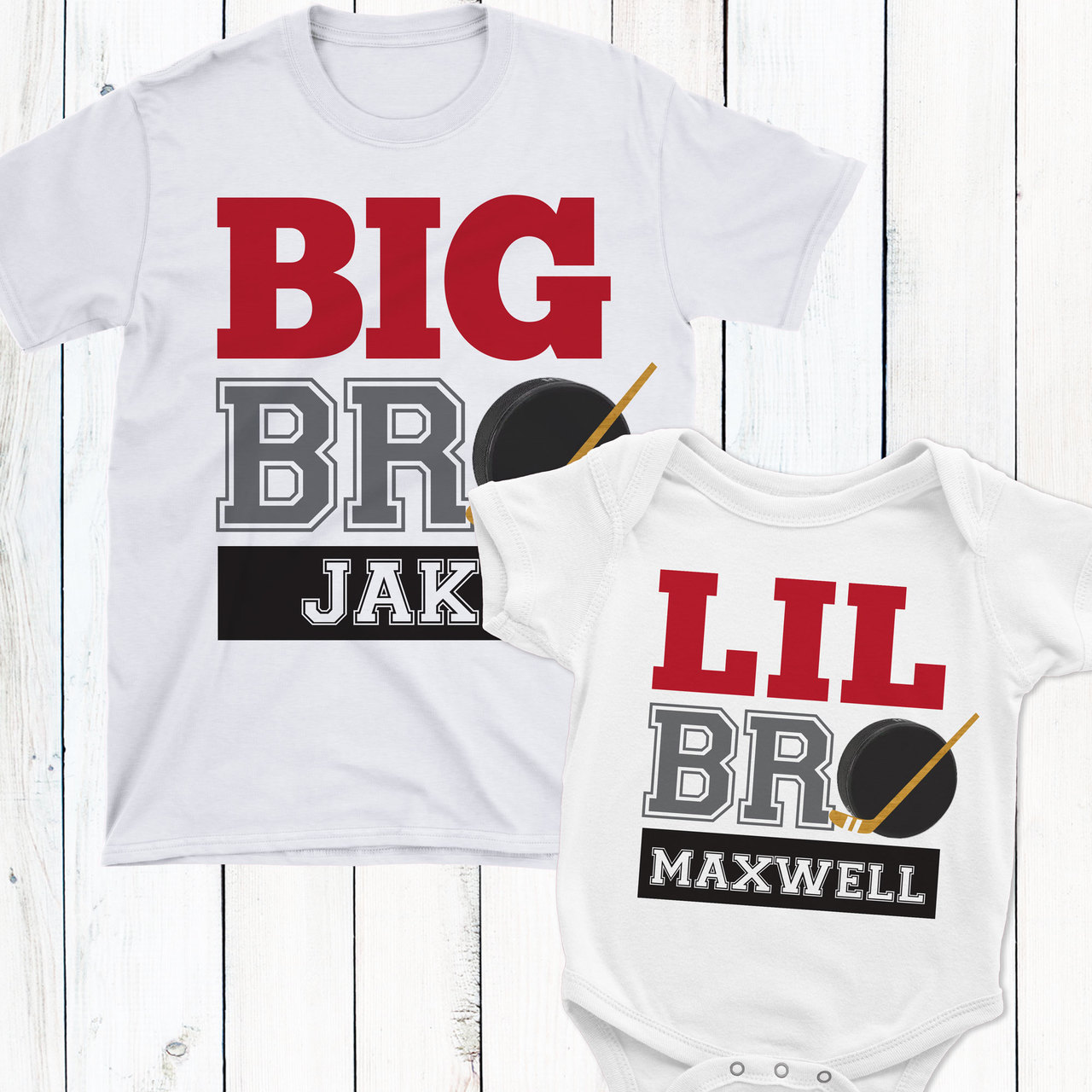 78b1f76c58f2 Personalized Big or Little Brother Hockey Shirt