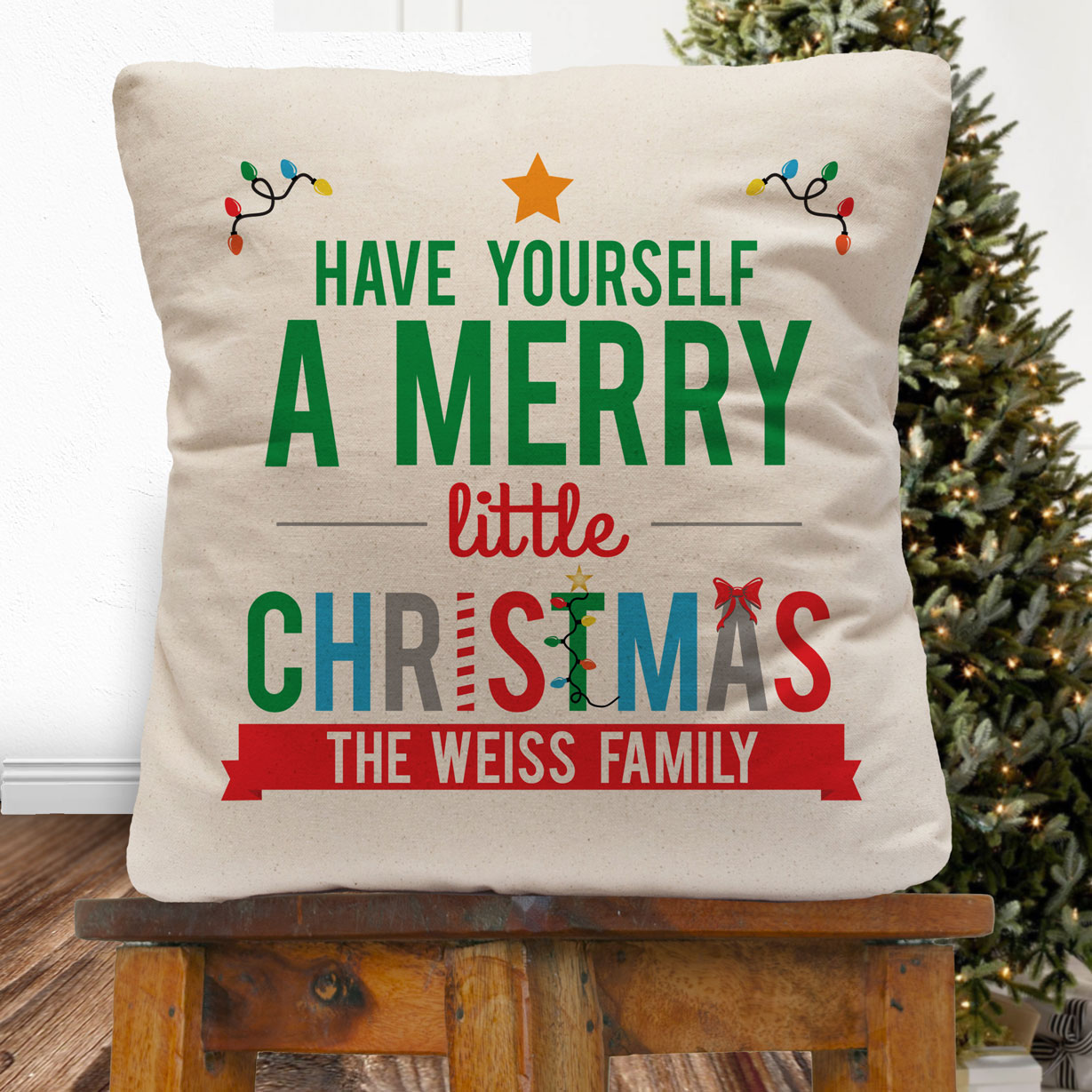 a3a94079dc Personalized Have Yourself A Merry Little Christmas Throw Pillow Cover