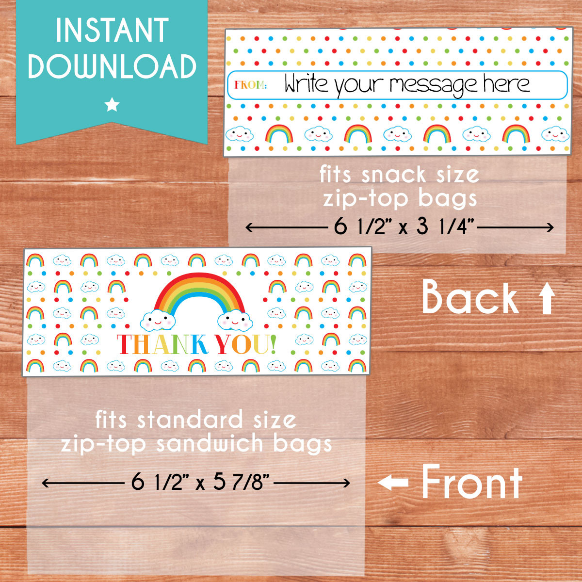image about Printable Bag Toppers named Printable Content Minimal Rainbow Bag Toppers (Prompt Down load)