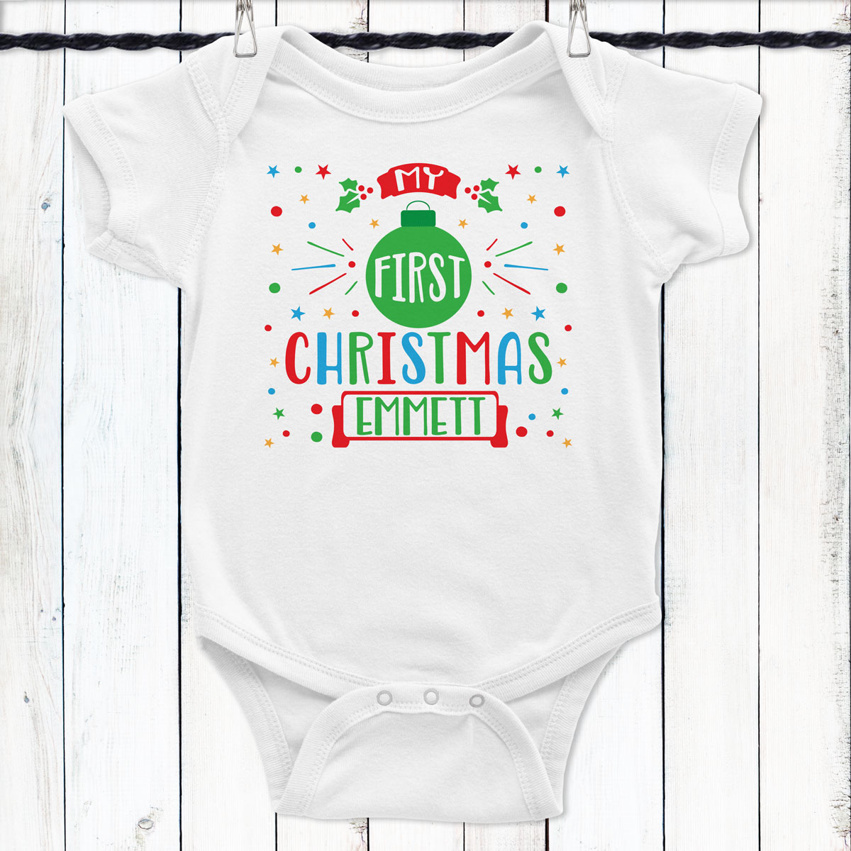 5e4a63383 Personalized My First Christmas Baby Shirt