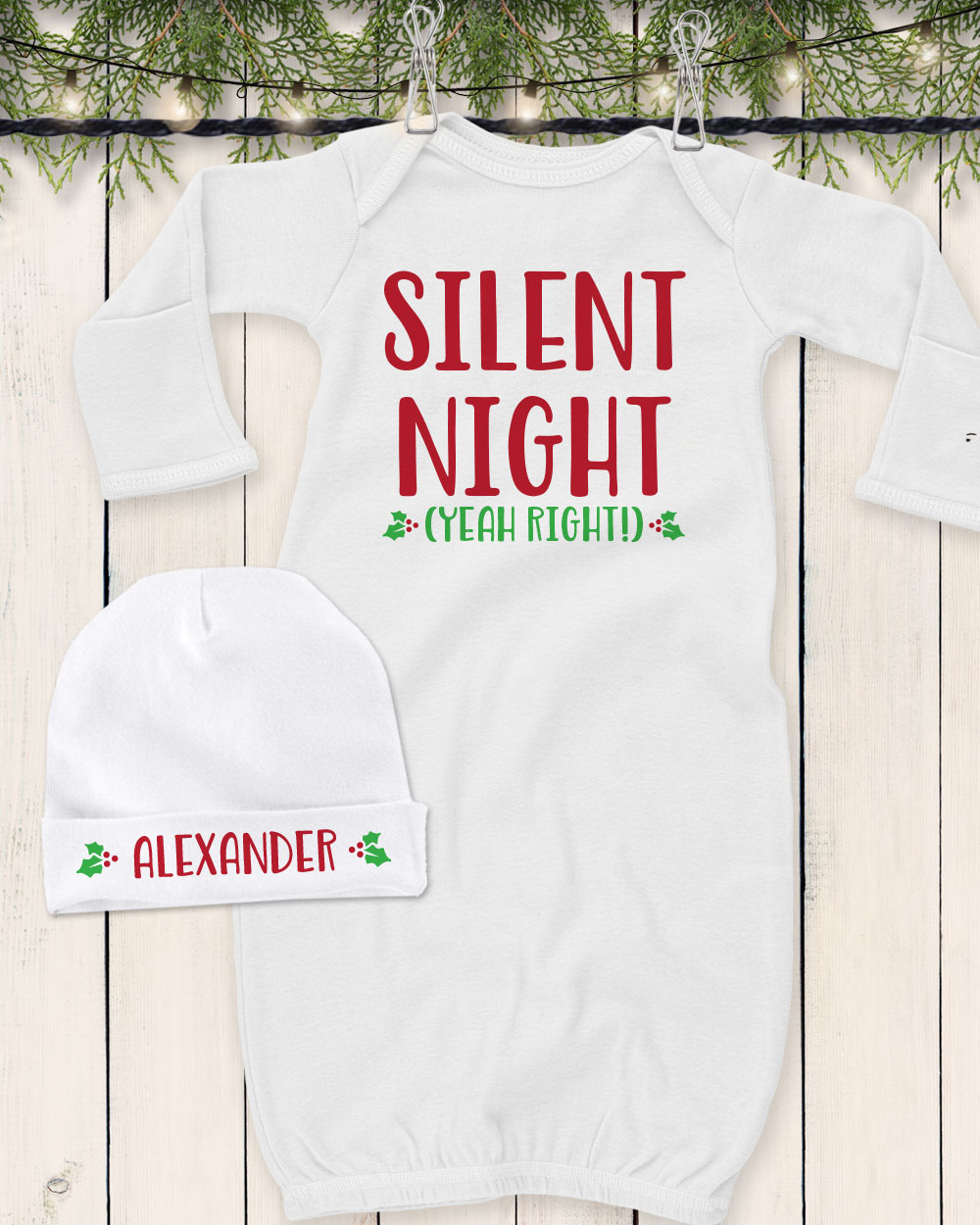 Personalized Silent Night Baby Gown Set f36c9309f