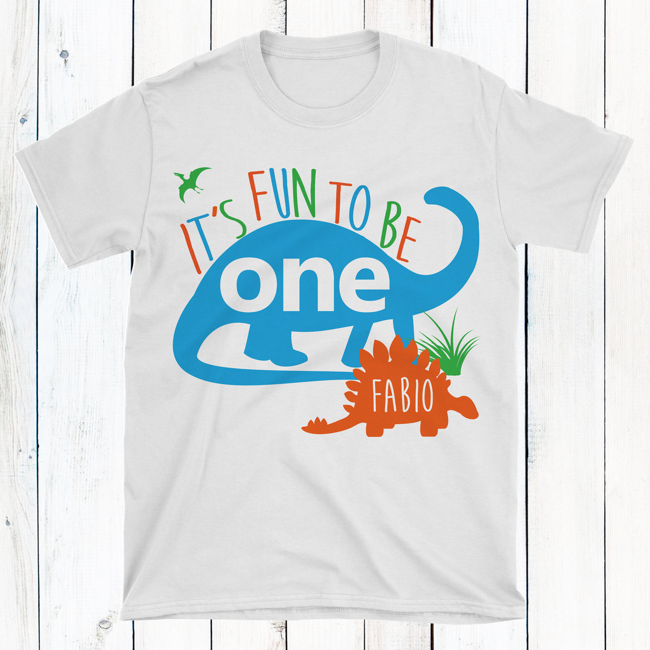 Personalized Blue Dino First Birthday T Shirt