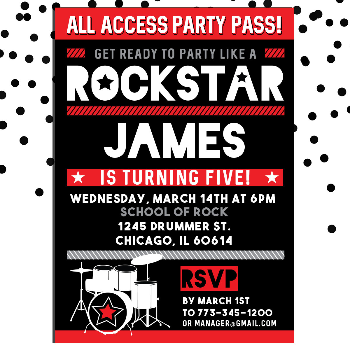Personalized Kids Birthday Invitation Red Rockstar