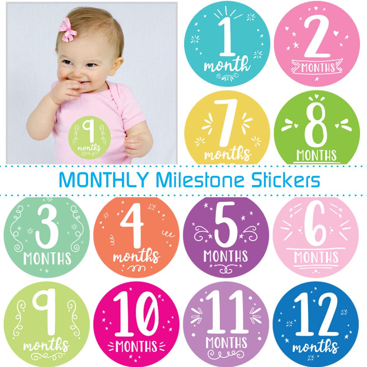 Monthly Milestone Baby Stickers Pastel Pinks