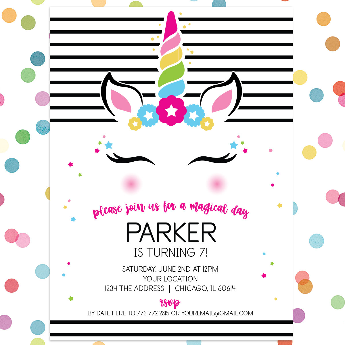 Personalized Kids Birthday Invitation Magical Mod Unicorn