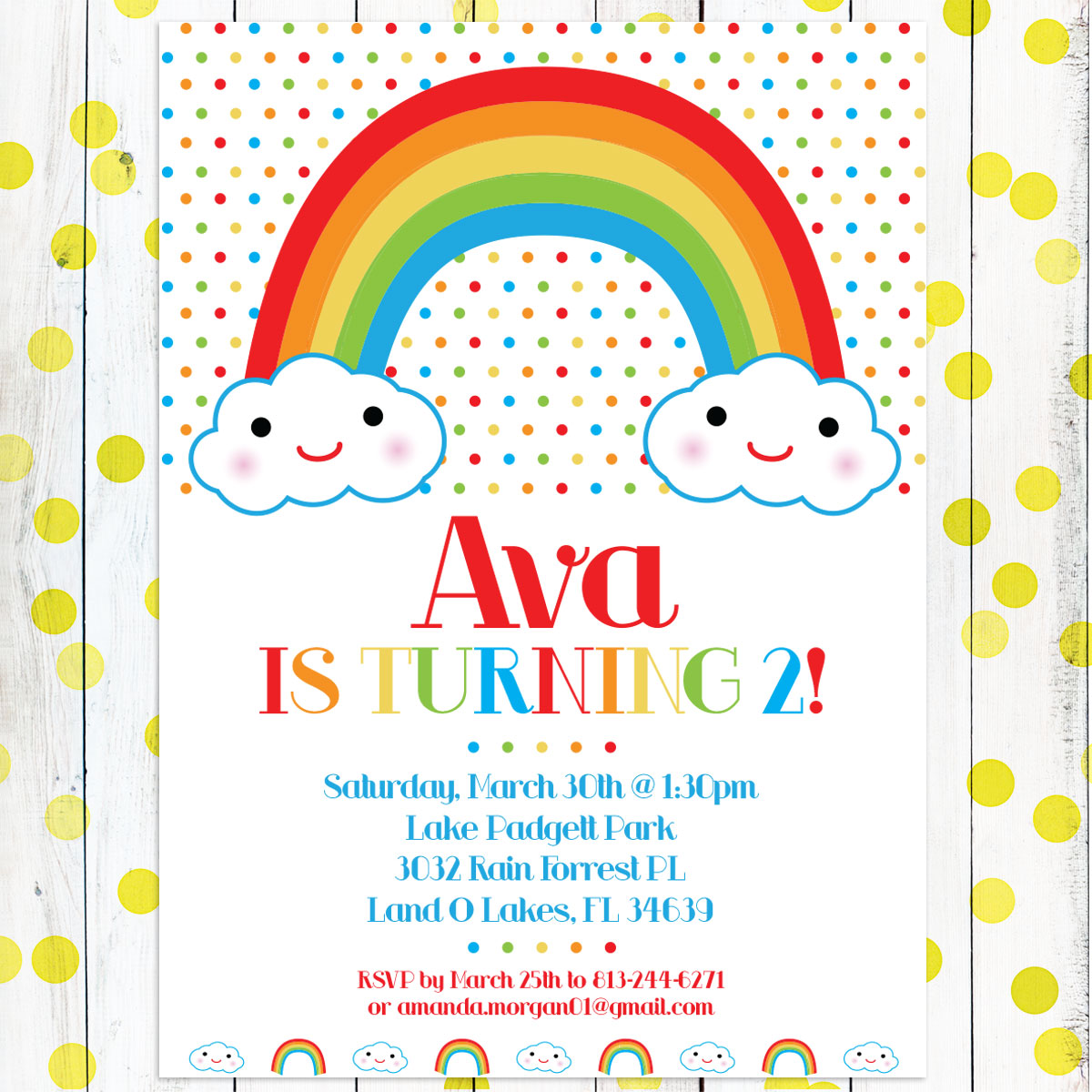 Personalized Girls Birthday Invitation Happy Little Rainbow