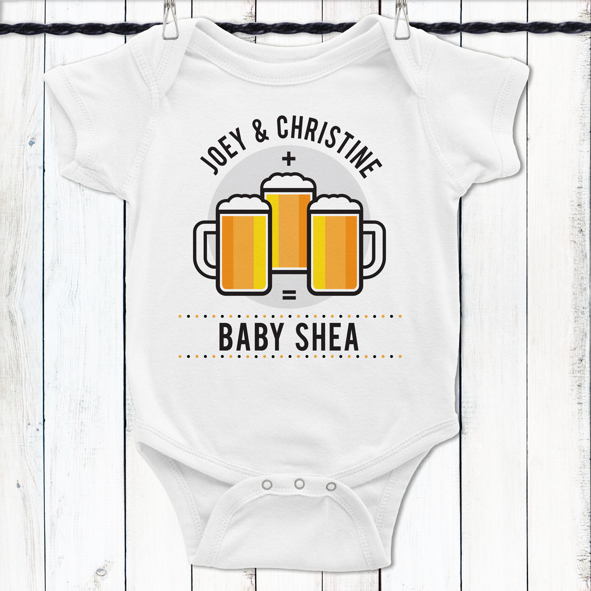 774a640df9ecf Personalized Mommy + Daddy + Beer = Me Baby Shirt