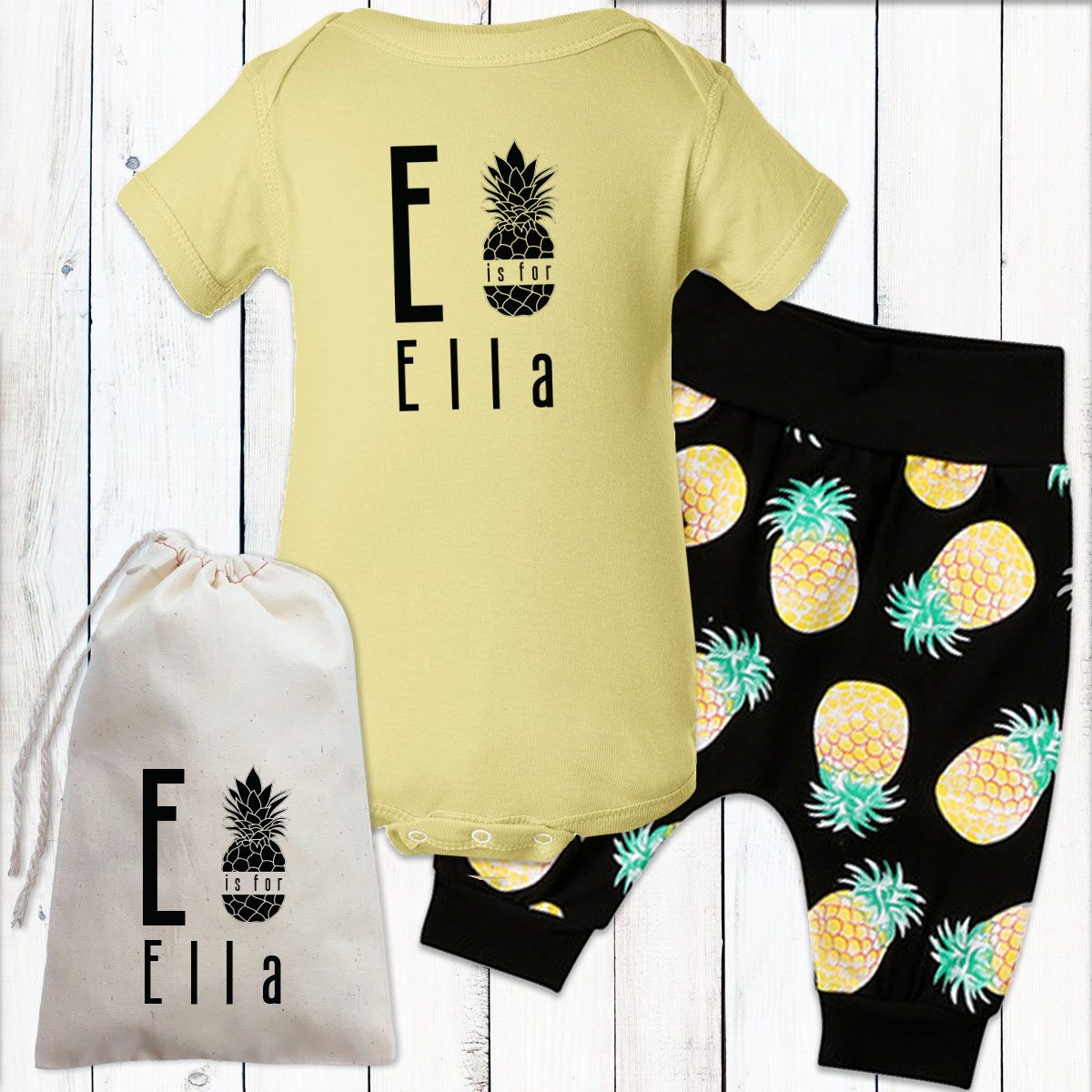8117f251620d1 Personalized Pretty Pineapples Baby Girl Gift Set