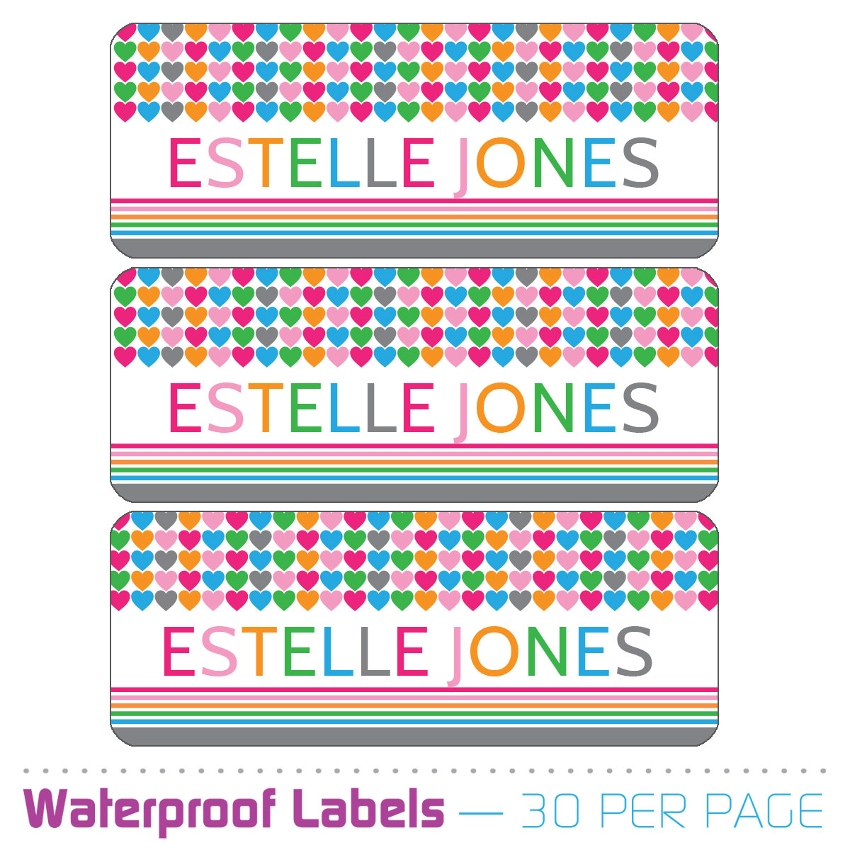 personalized name labels multi hearts