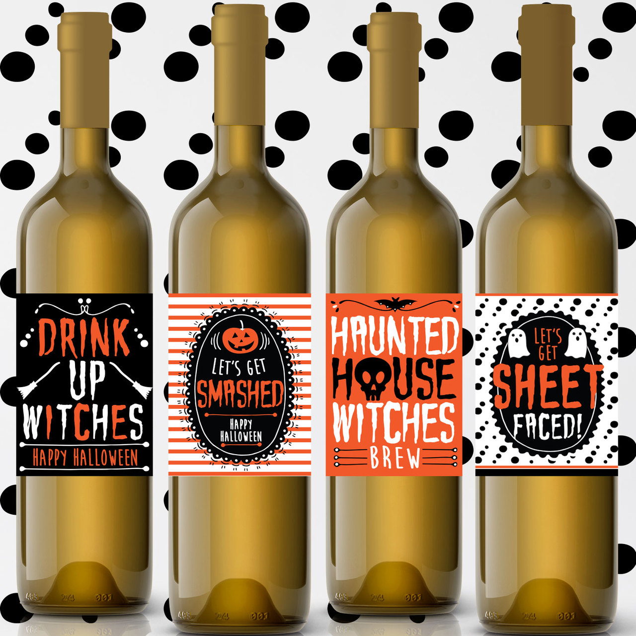 Printable Drink Up Witches Halloween Wine Labels Instant Download
