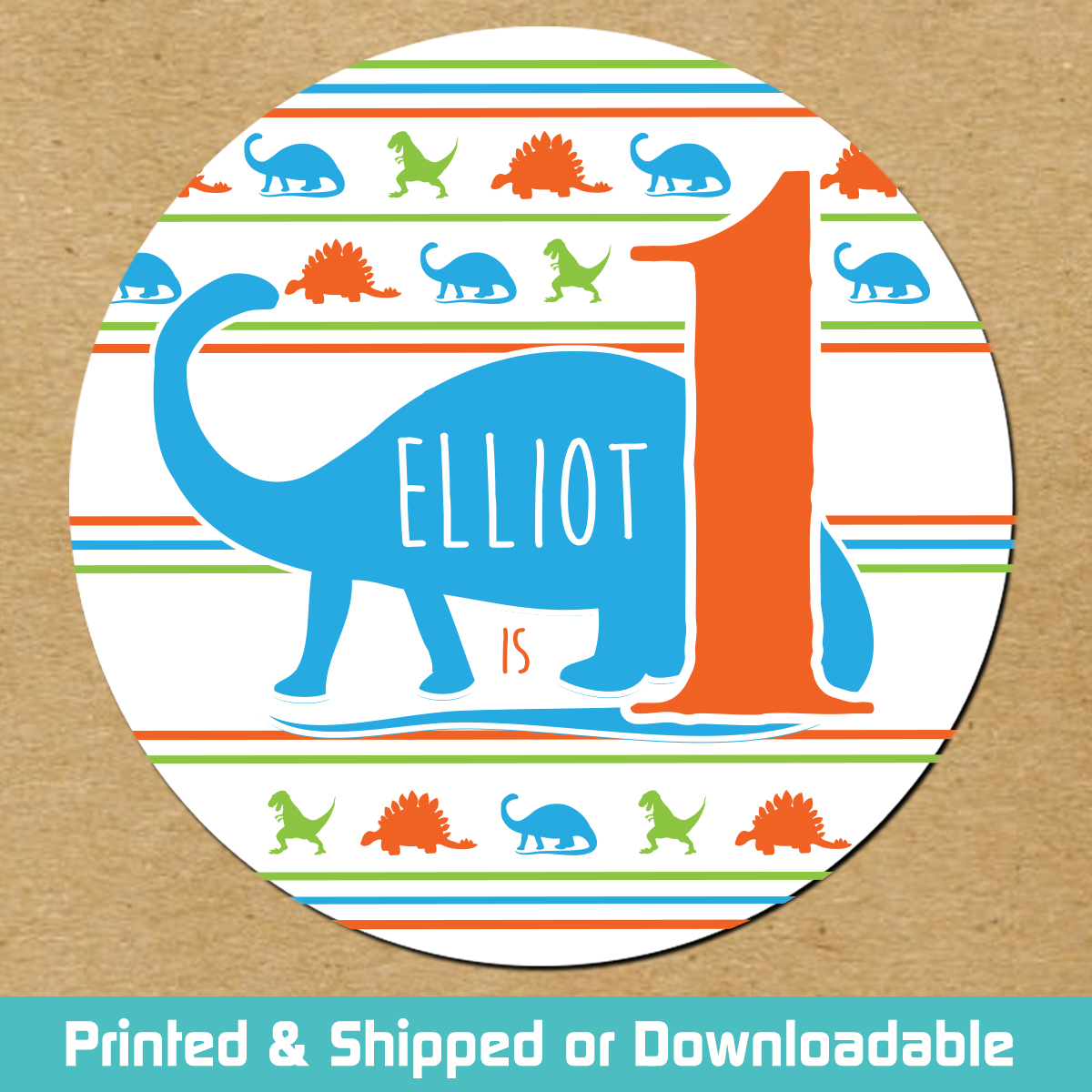 Personalized first birthday stickers jurassic dino blue