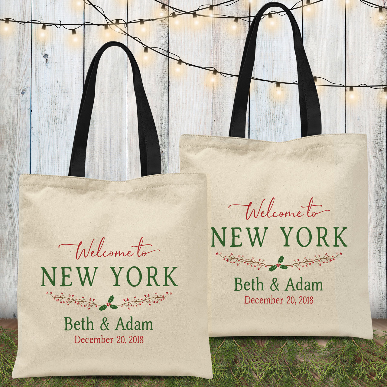 Wedding Welcome Bags.Custom Tote Bags Holiday Holly Wedding Welcome