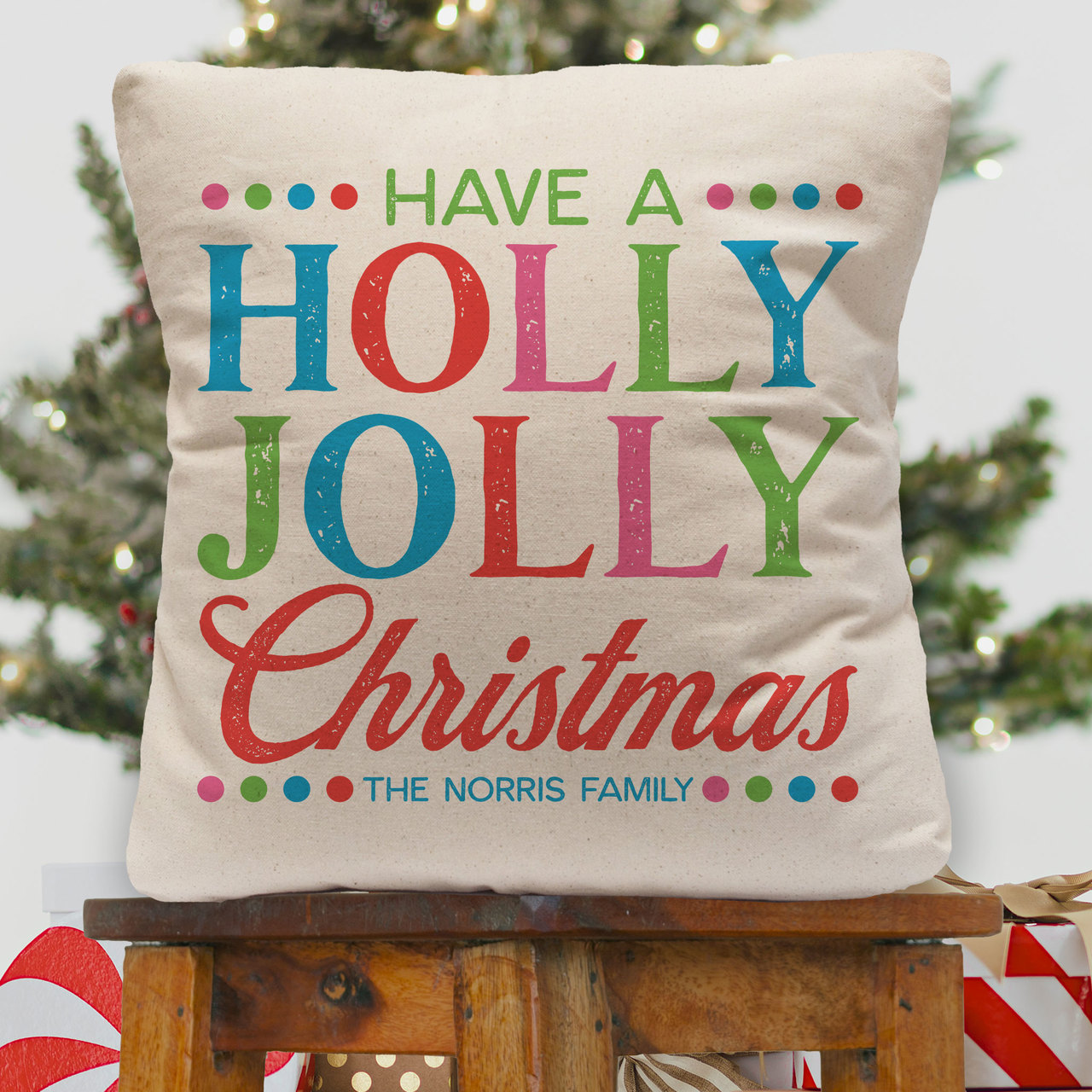 Personalized Holly Jolly Christmas Throw Pillow Cover