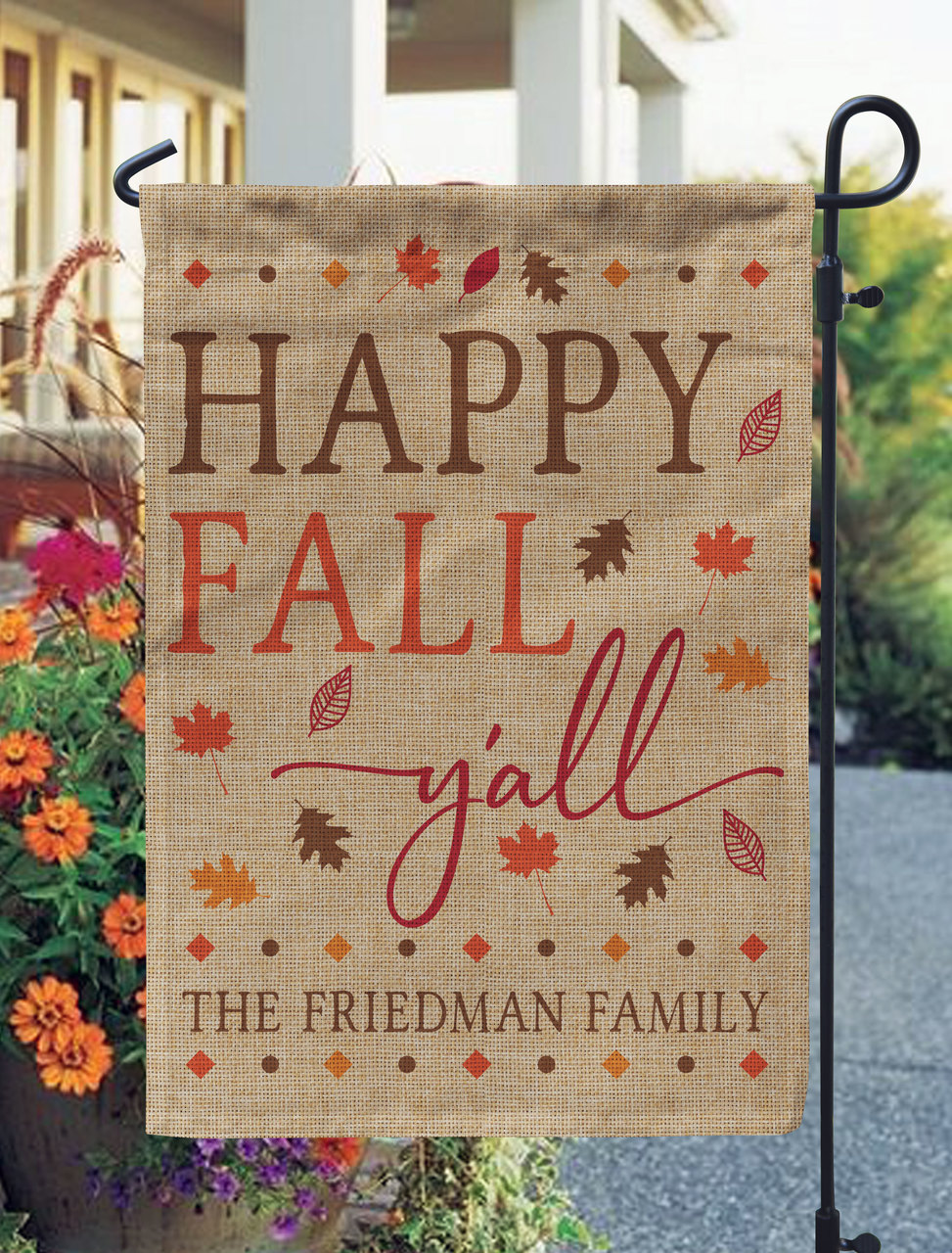 Personalized Happy Fall Y All Burlap Garden Flag