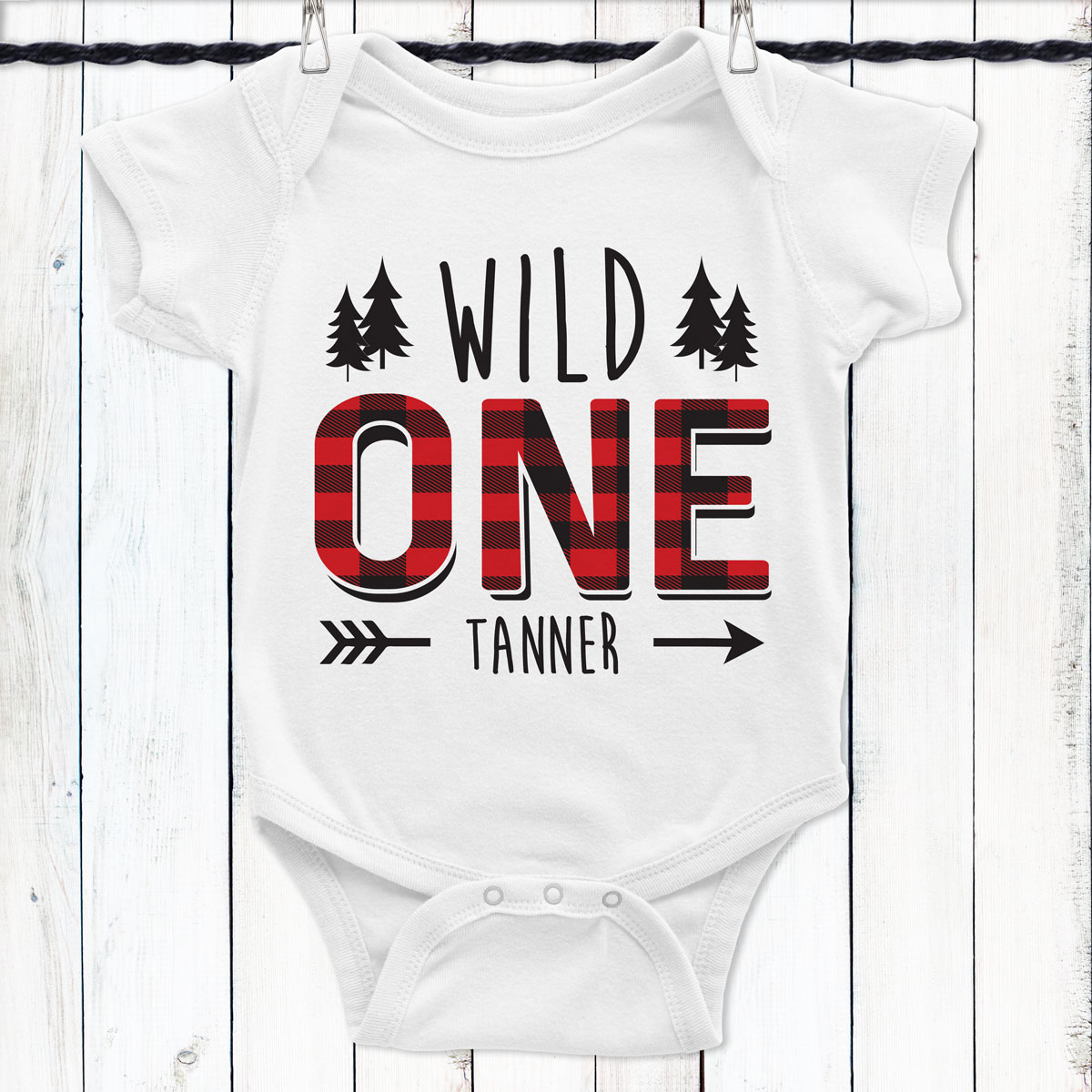 Personalized Plaid Wild One First Birthday Shirt
