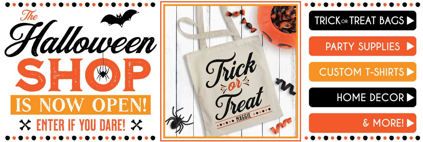Custom Trick or Treat Bags for Kids & Personalized Halloween Gifts and Shirts