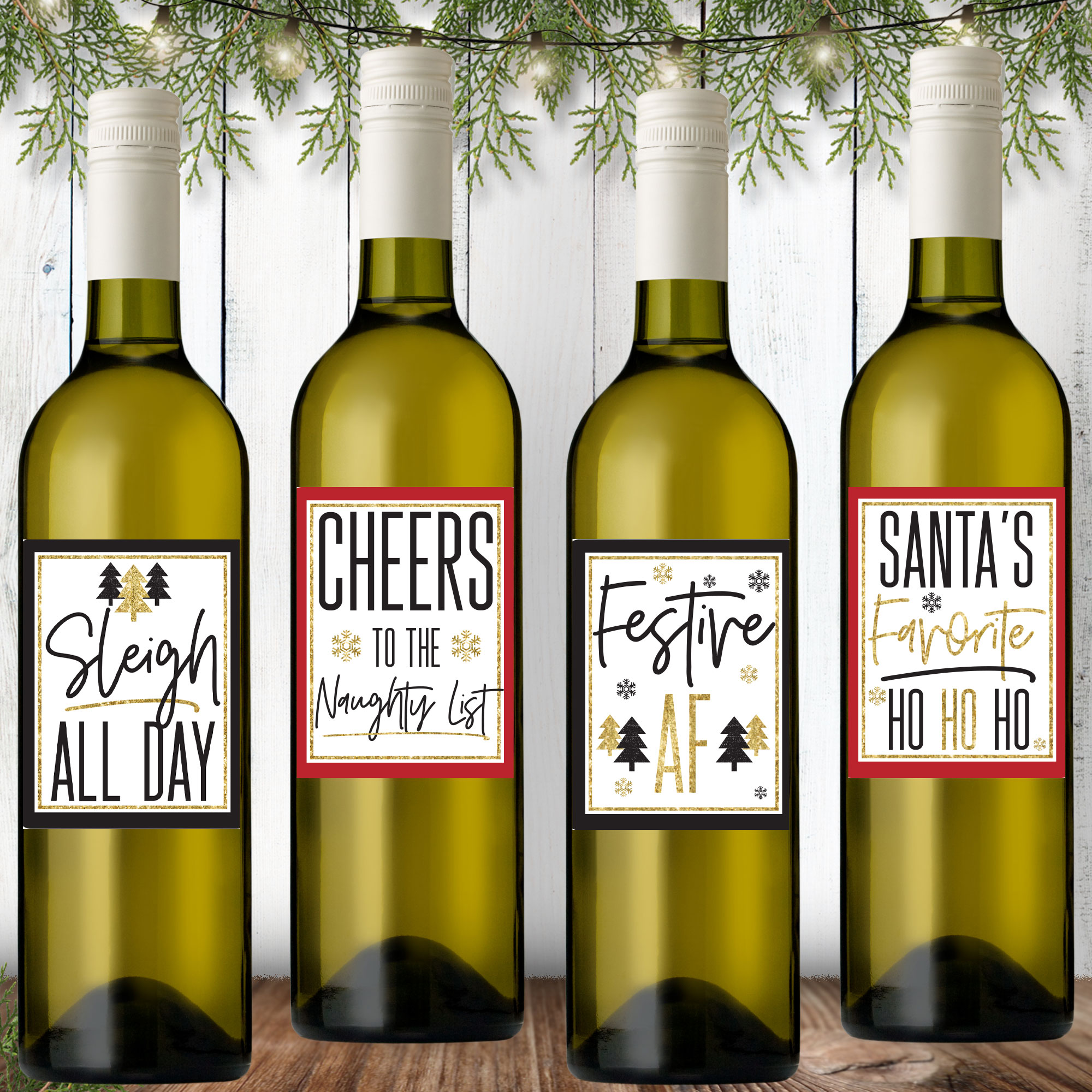 Christmas Wine Labels & Bags