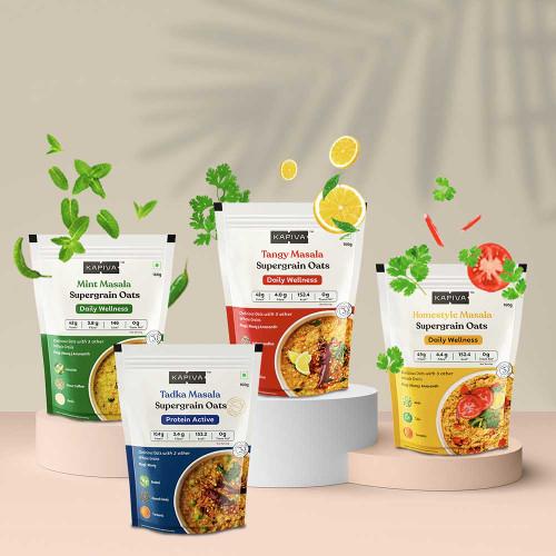 Masala Supergrain Oats Daily Wellness & Agility Combo | 4 Packs * 160g Each