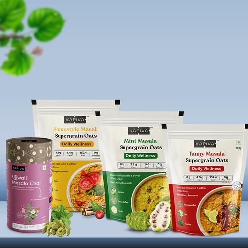 Breakfast Wellness Combo | Kapiva Masala Supergrain Oats & Ujjwal Masala Chai
