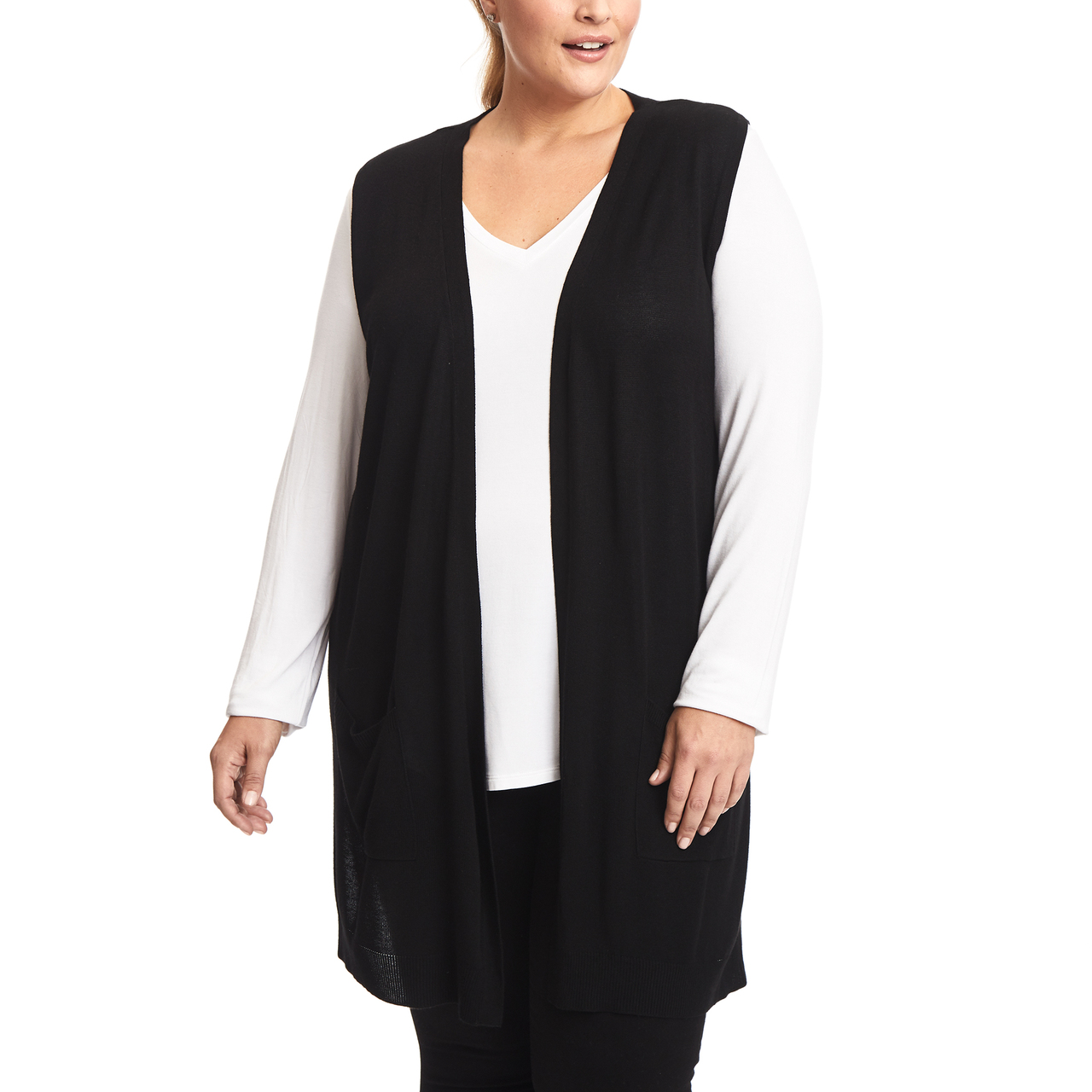 Long Vest With Two Pockets in Black
