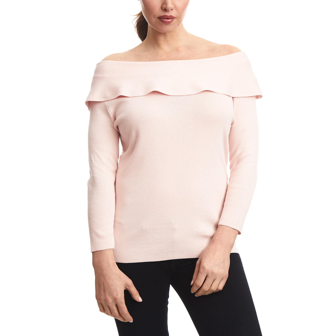 Off The Shoulder Ruffle Sweater In Pink