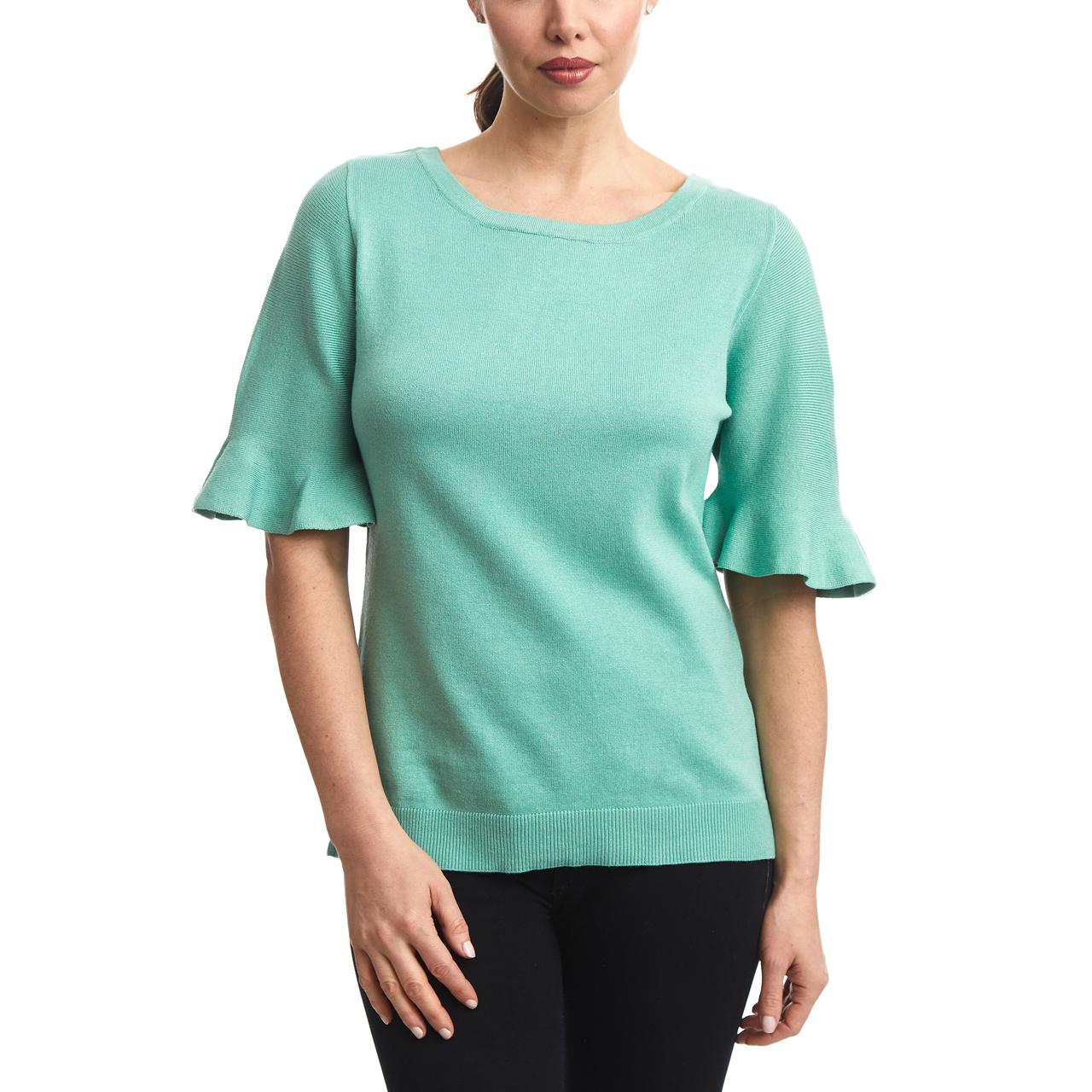 Flutter Sleeve Sweater in Jade