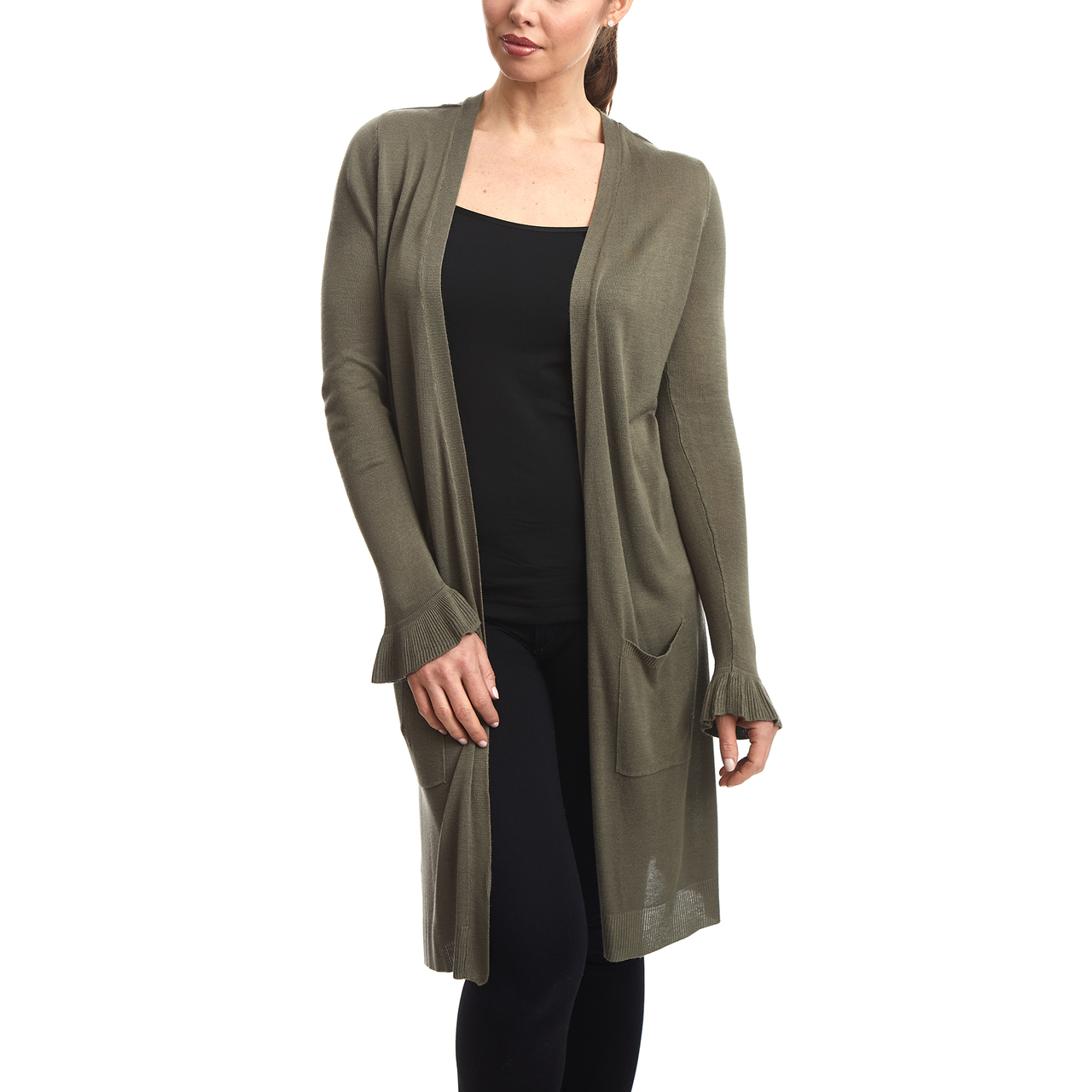 Duster Cardigan with Ruffle Cuff in Olive
