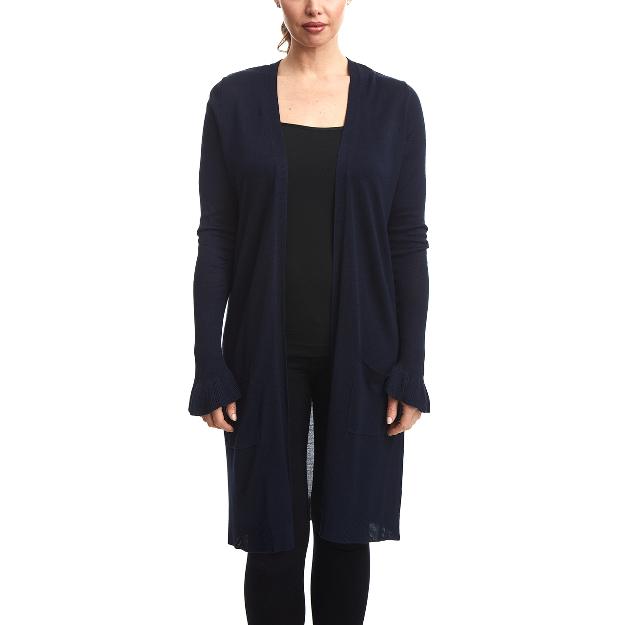 Duster Cardigan with Ruffle Cuff in Navy