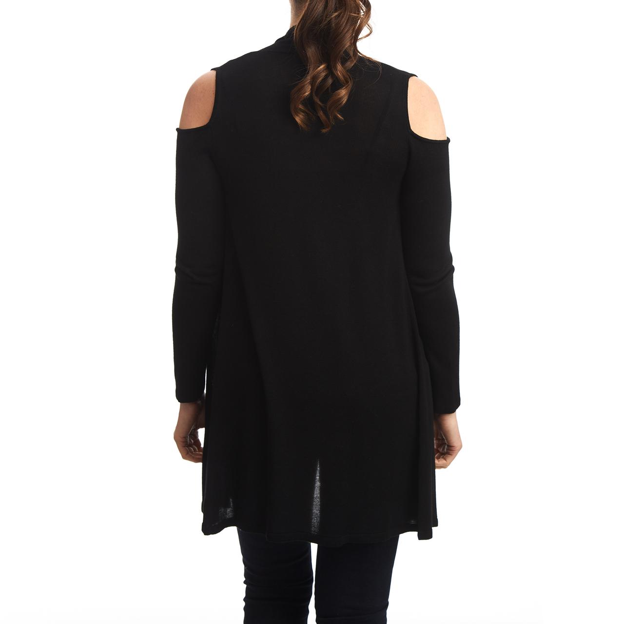 Drapefront Cold Shoulder Cardigan in Black