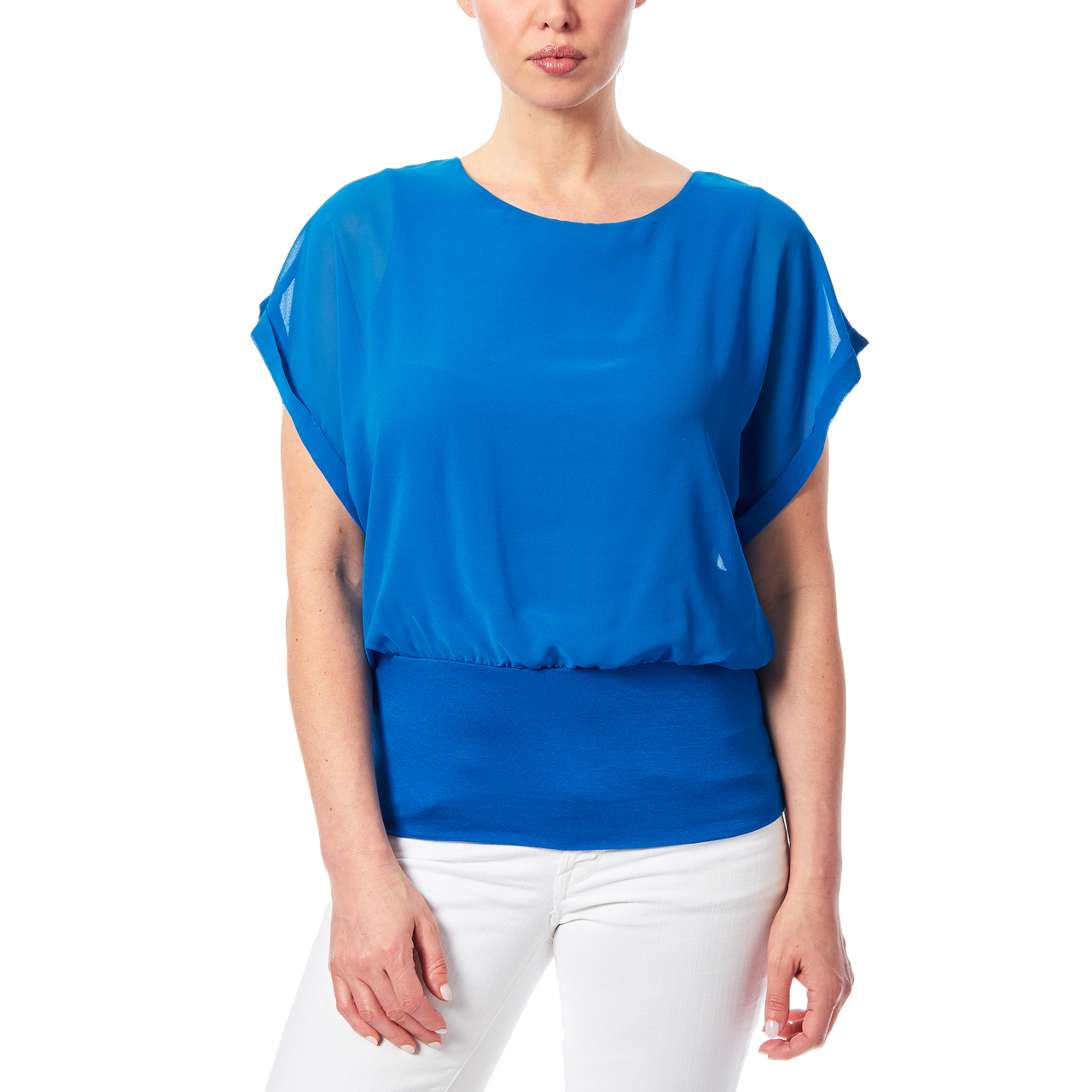 Dolman Sleeve Chiffon Top With Knit Banded Bottom In Royal Blue