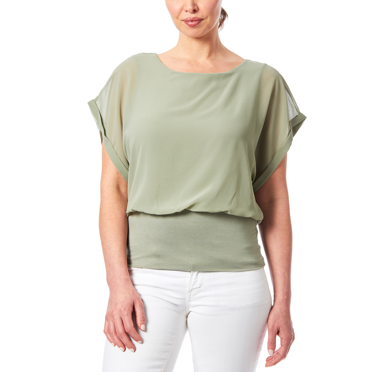 Dolman Sleeve Chiffon Top With Knit Banded Bottom In Sage Green