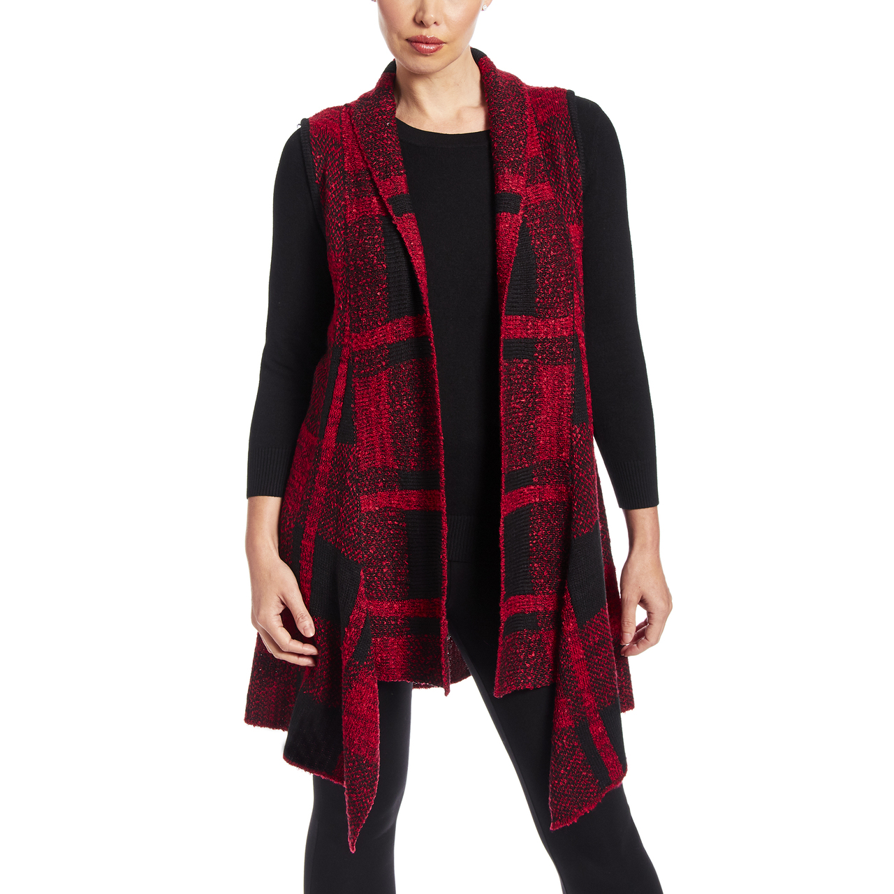 Plaid Sharkbite Sleeveless Vest In Black and Red